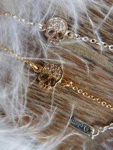 bracelet-chaine-fine-tete-de-mort-zircon argent massif ou plaqué or Ô plum