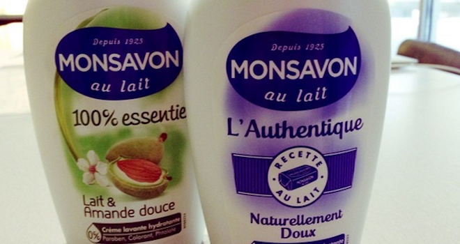 cremes lavantes monsavon l'Authentique et 100% lait et amande douce