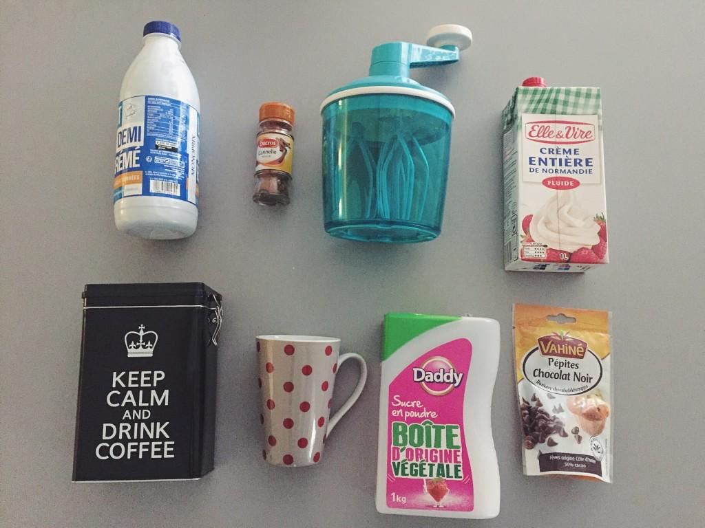 Café latte cannelle et pépites de chocolat