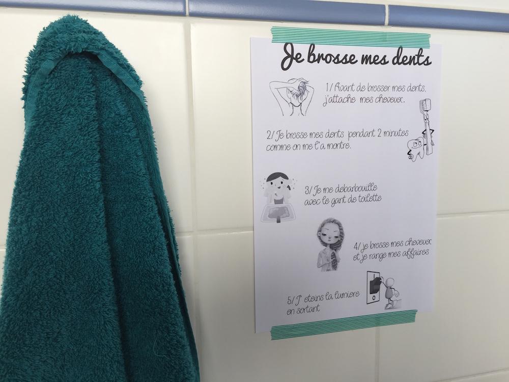 affichette règles salle de bain